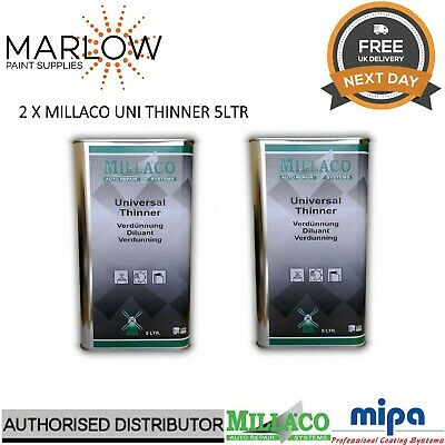 2 X Millaco Uni Thinner 5L - Universal 2K Reducer Basecoat Primer Lacquer Paint