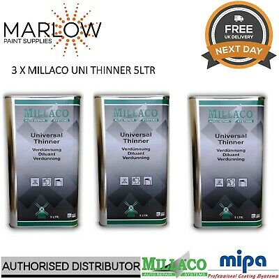 3 X Millaco Uni Thinner 5L - Universal 2K Reducer Basecoat Primer Lacquer Paint