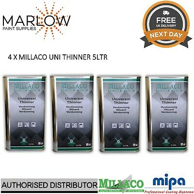 4 X Millaco Uni Thinner 5L - Universal 2K Reducer Basecoat Primer Lacquer Paint