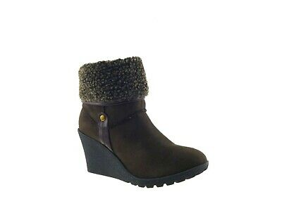 Womens Chunky Wedge Heel Ladies Winter Pull On Fleece Ankle Boots £5 Shoes Size