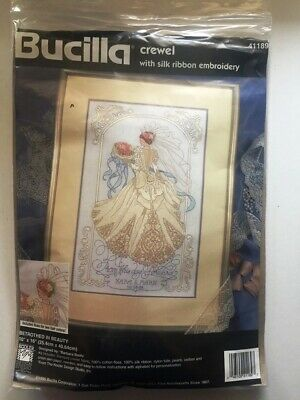 RARE Bethrothed in Beauty crewel with silk ribbon embroidery Bucilla,