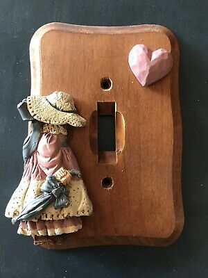 Vintage Light Switch Plate Cover, Wooden With Raised Little Girl & Heart- Cute!!