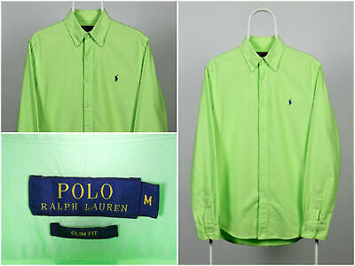 Mens Polo Ralph Lauren Shirt Long Sleeve Button Front Green Slim Fit Size M