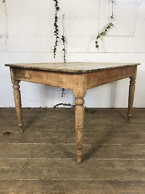 Antique Early 20th Century  Pine Farmhouse Kitchen Dining Table