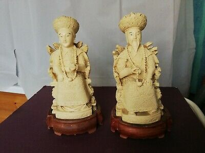 Pair Chinese figurines Emperor & Empress carved resin oriental on wood stands
