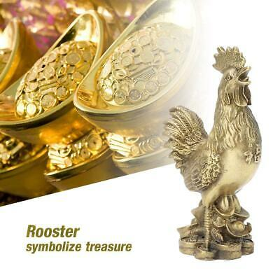 Vintage Brass Crafted Lovely Rooster Standing On Treasures Coins Ingot Gift