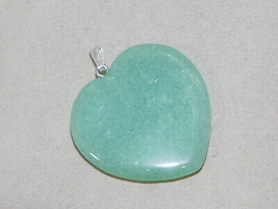 Green Jade color Aventurine Carved Stone Heart Sterling Silver Pendant 2b 50