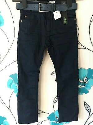 Boys NEXT Skinny JEANS Navy Blue Age 6 Years Adjustable + Belt NEW TAGGED @ £16