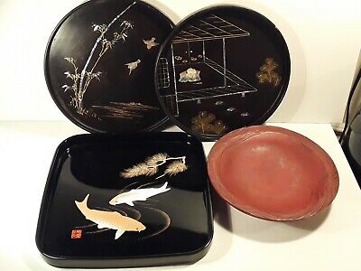 Antique Japanese Lacquer Collection Lot 3 Trays and Bowl Signed Mother of Pearl