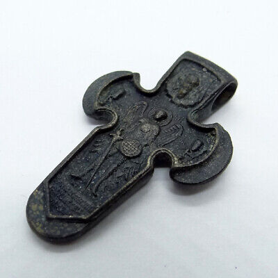Old Russian Ancient Artifact Bronze Cross Double Sides With Archangel Michael