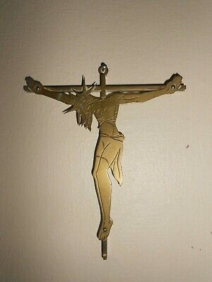 Antique Arts & Crafts Brass Crucifix , wall hanging.