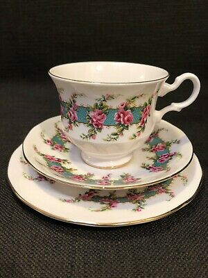 Vintage Royal Kent Bone China Trio, Plate, Cup & Saucer, Pink Roses & Blue Band