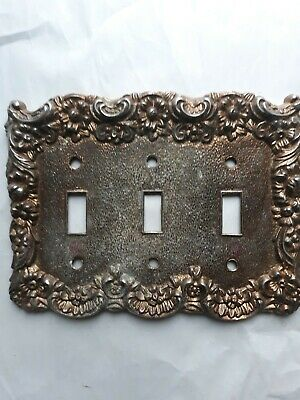 Vintage  Brass 3 Toggle Ornate Switch Plate