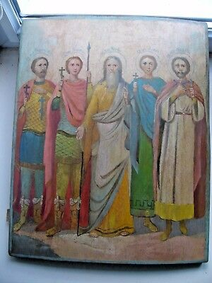 "Antique 19c Russian Orthodox Hand Painted Wood Icon ""Selected Saints"" Large"