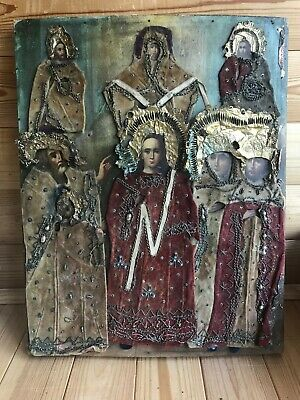 """Antique 19c Russian Orthodox Hand Painted Wood Icon """"the Protection of the Virg"""""""