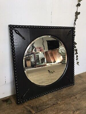 Antique Arts And Crafts Ebonised Wall Mirror C.1910