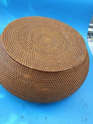 Antique PRIMITIVE ART HUGE GRASS  BASKET w LID MUSLIM ISLAMIC DESIGN INDONESIA
