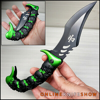 """10"""" BLACK KARAMBIT ASSISTED POCKET KNIFE Tactical Open Assist Folding Claw Blade"""