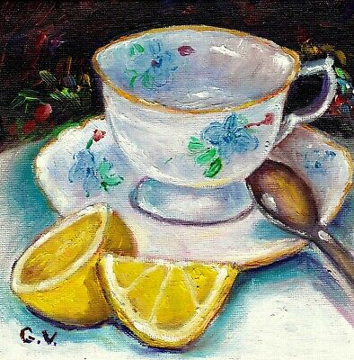 Still Life With Tea Cup And Lemon 6X6 Original Painting For Sale  Grace Venditti