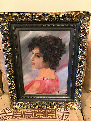 A remarkable oil painting of a lady-Nouveau period, possibly deco