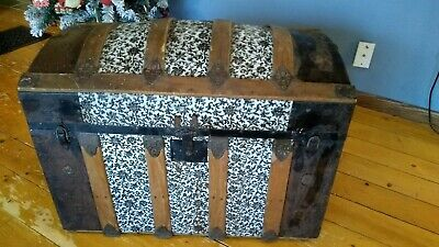 Antique Victorian Domed Top Steamer Trunk Embossed Tin Stagecoach Chest 1800's