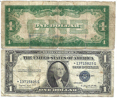1928A $1 FUNNY BACK! 1935G $1 **STAR** 2 Notes! Old US Paper Money Currency!