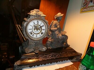 "Antique-Large-Ansonia-Statue Clock ""Reubins""Ca.1900-To Restore-#K386"