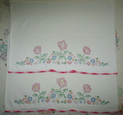 Gorgeous Vtg Cotton  Pillow Cases Pink Dancing Flowers and Multi-Colored