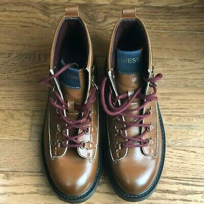 GUESS RUSKIN Brown Mens Size 9.5M PLAIN TOE ALPINE Ankle Boots Shoes