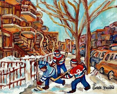 Montreal Winter Scene Street Hockey In The Plateau  8X10 Original Art Painting