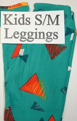 Lularoe St. Patrick's Day Leggings Kids S/M Green Red Blue Yellow White Triangle