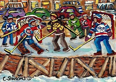 Montreal Hockey Scene Outdoor Game 5X7 Winter  Painting For Sale Carole Spandau
