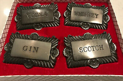 Silver Plated Liquor Decanter Bottle Labels Tags Set Vodka Whiskey Gin Scotch