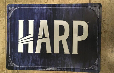 Harp Lager Beer Tin Metal Sign Blue Used