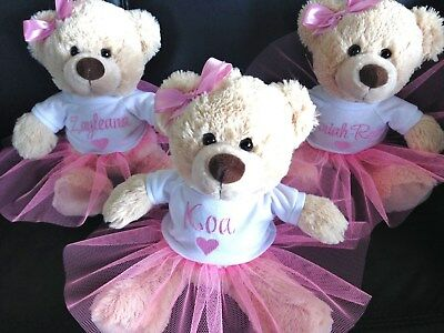 Personalised Teddy Bear  Any Name  Baby Gift  Birthday  Ballet TuTu  Pink  26cm
