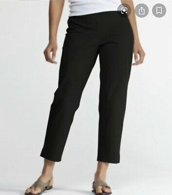 Eileen Fisher L slim ankle pants side zip black Large Stretch Flat Front