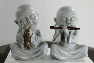 Antique Chinese Pair of  Monks sclutures statues Playing Instruments