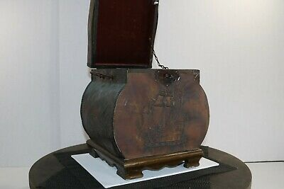 Vintage Chinese Wood Metal Trim Jewelry Box Curved Lid Asian Lacquer Storage