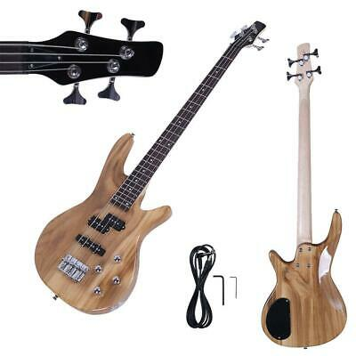"New 34"" IB Basswood 24 Frets Electric Bass Guitar Natural Color"