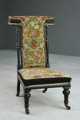 Antique Tapestry Prayer Chair Prie Dieu Bedroom Occasional Side
