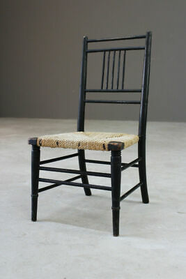 Vintage Arts & Crafts Ebonised Morris Style Childs Chair