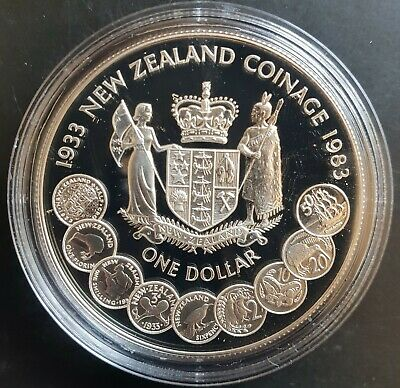 1983 New Zealand:  $1 (50 Years New Zealand Coinage) Silver Proof......