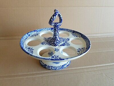 "Spode BLUE ITALIAN EGG STAND HOLDER  TRAY UNUSED OVAL SHAPED 7.5""×6"""