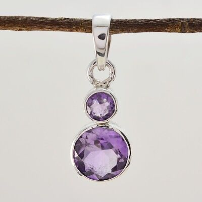 grand Amethyst 925 Sterling Silver Purple Pendant genuine indian US gift