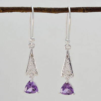 excellent Amethyst 925 Sterling Silver Purple Earring genuine jewelry US gift