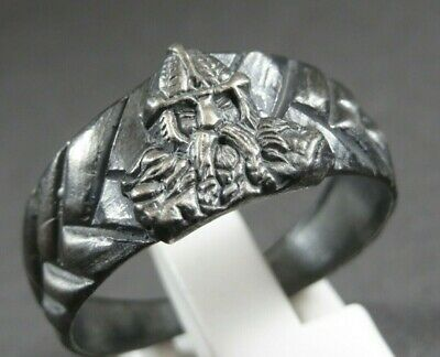 Scarce Ancient Viking Norse Silver Military Ring Depiction Warrior 700-900 Ad