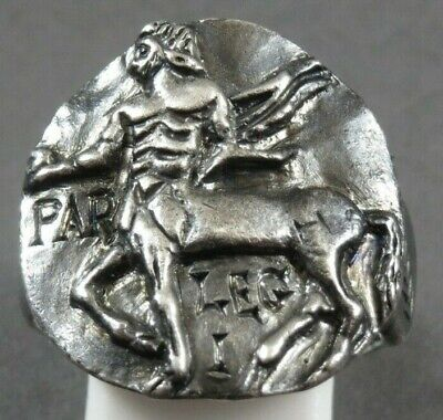 Ancient Roman Military Legionary Silver Ring Legion I Parthica Circa 197 Ad