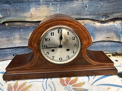 Antique Mantle Napoleon Hat Inlaid Two Train Clock