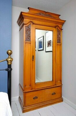 Edwardian antique wardrobe with drawer in excellent condition