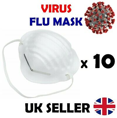 10 x VIRUS FLU VIRUS MEDICAL DUST FACE MASK METAL STRIP SURGICAL QUALITY